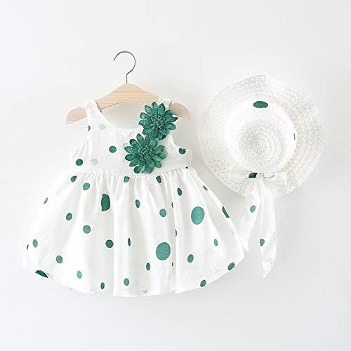 Chen 2019 Summer New Children's Dress Dress Baby Girl Baby Two Flower hat Princess Dress(Green,90 cm)