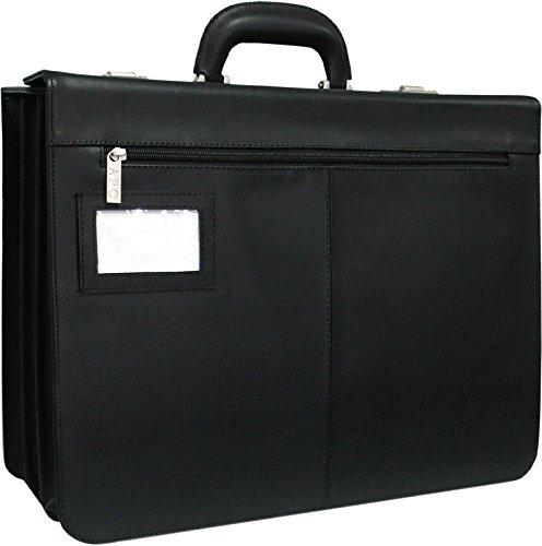 AmeriLeather Modern Attache Leather Executive Brief (Dark Brown)