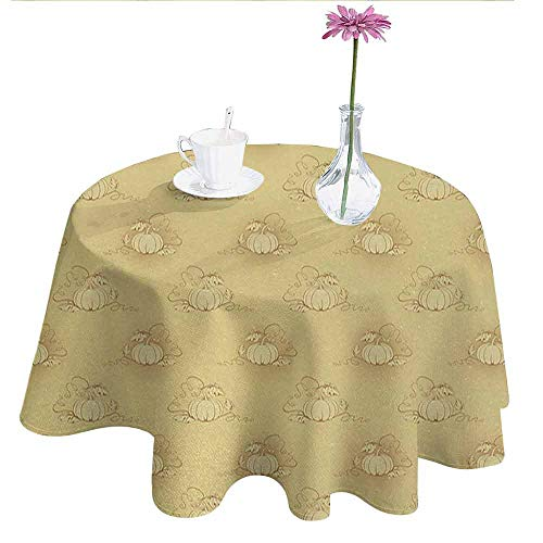 Curioly Beige Printed Tablecloth Pumpkins on Earth Background