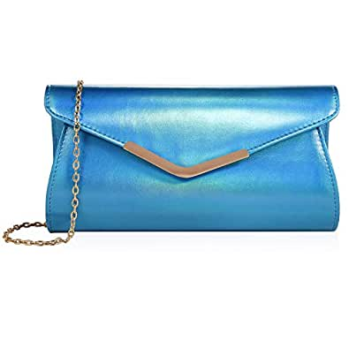 Iridescent Leather Evening Bag Clutch Handbag With Shoulder Strap for Girls Party Wedding Purse Crossbody Bag Blue Size: 10x2.36x6.1inch