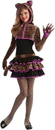 Girls Leopard Kitty Cat Animal Tween Kids Halloween Costume M
