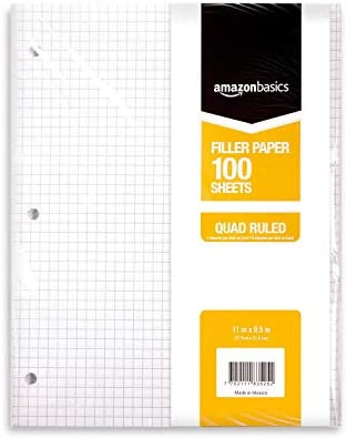 Amazon Basics Graph Ruled Loose Leaf Filler Paper, 100 Sheet, 11 x 8.5 Inch, Pack of 6
