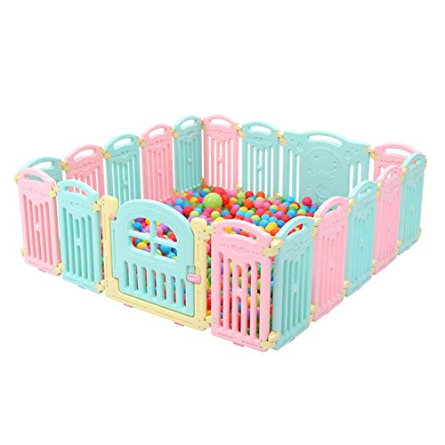 QAZSDF Baby Game Large Fence 18 Panel Folding Indoor and Outdoor Security Activity Center with Marine Ball