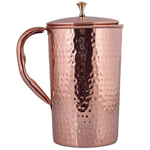 Decorative India Pure Copper Hammer Pitcher Jug 1500 ML with Lid for Ayurveda and Health Benefits