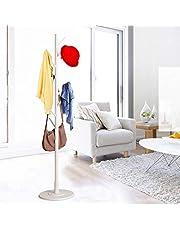 Tree Coat Rack, Entryway Wooden Hanger Floor Standing Coat Rack Home Furniture Clothes Rack Coat Tree Hat Hanger Holder, Round Base(White)