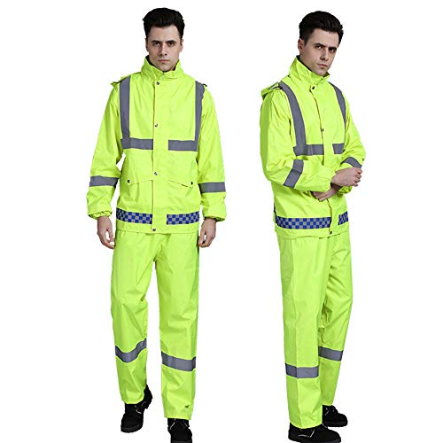 (XUHAN High Visibility Reflective Waterproof Rain Jacket Working Clothes Motorcycle Cycling Sports Outdoor Reflective Safety Clothing with pants (L)= regular