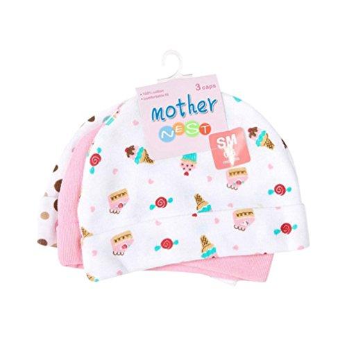 Freshzone 3PC Newborn Baby Girls Boys Hat Cap Children Cartoon Printed Hat (Pink) (Cap Season Clothing)