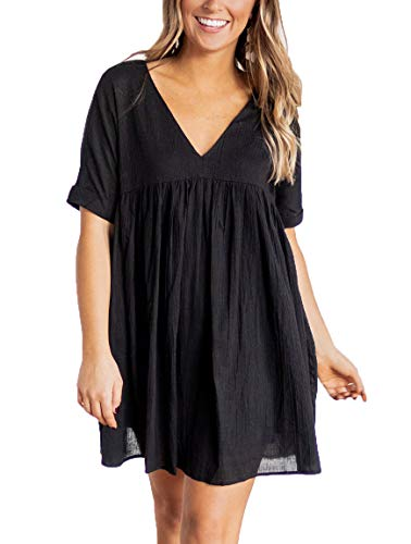 YIBOCK Women's Short Sleeve V Neck Pleated Loose Babydoll Solid Color Tunic Mini Dress Black Black Pleated V-neck Dress