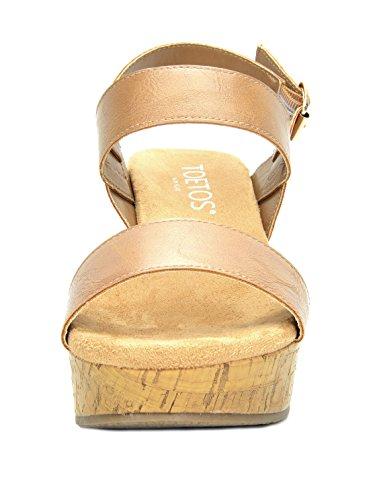 468204555ac9 TOETOS Women s Sandro-01 Nude Mid Heel Platform Wedges Sandals - 8 M ...