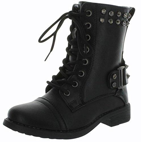 Andrea-37K Girls Jr Combat Studded Fashion Tall Boots,Black,1 ()