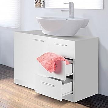 idmarket meuble sous lavabo blanc avec 3 tiroirs pour vasque de salle de bain