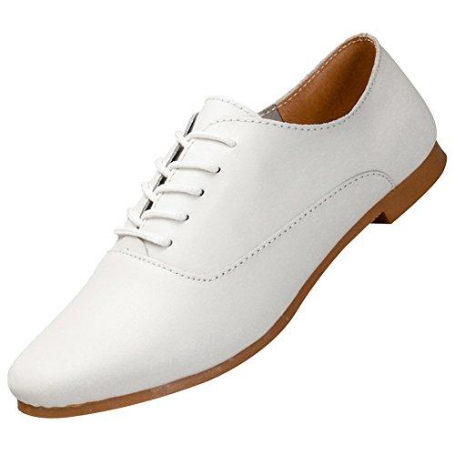 Jamron Mujer Suave Cuero Dedo Punteado Plano Oxfords Ligero Casual Comodidad Encajes Zapatos Blanco