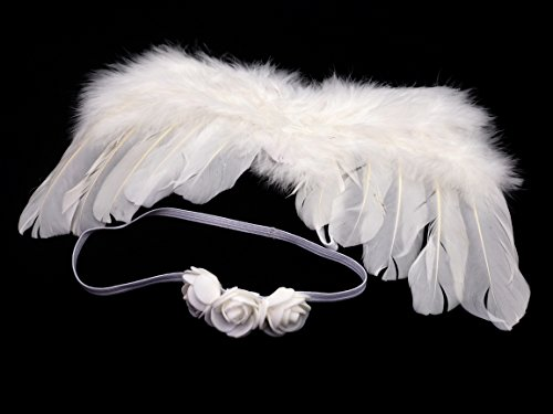 Creationtop White Feather Angel Wings for 6-18 month Baby (White wings/Flowers headband) (Cupid Costumes For Infant)