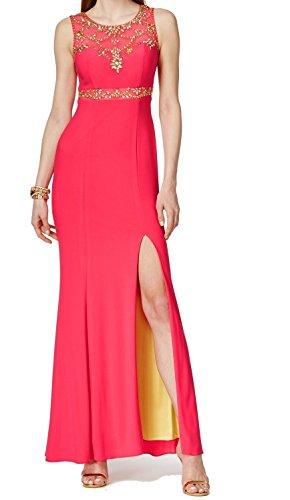 Betsy & Adam Sleeveless Embellished Illusion Gown (Pink Azalea, 4)