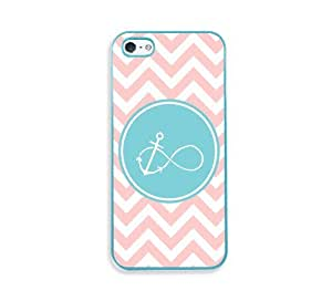 Anchored Forever Baby Pink Zig Zag Cute Hipster Aqua Silicon Bumper iPhone 5 Case - Fits iPhone 5