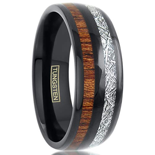 (King's Cross Awesome Unique 6mm/8mm Polished Piano Black Tungsten Carbide Low Dome Band Ring with Dazzling Faux Meteorite & Cool Koa Wood Inlays feat. Comfort Fit Inner Band. (Tungsten (8mm), 9))