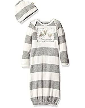 Girls' Organic Gown and Cap Set