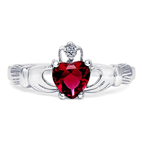 Sterling Silver with Simulated Red Ruby Claddagh Promise Ring For Her, 8mm (8) (Custom Contemporary Dance Costumes)