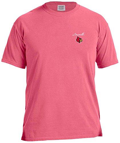 NCAA Louisville Cardinals Marquee Comfort Color Short Sleeve T-Shirt, Crunch Berry,Crunchberry