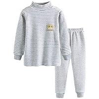 GLEAMING GRAIN Toddler Boys Long Sleeve Striped Sleepwear Boys Thermal Underwear Organic Cotton Apparel PJ Set Grey 6T