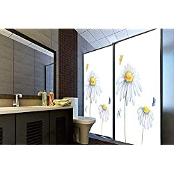 "Horrisophie dodo 3D Privacy Window Film No Glue,Dragonfly,Chamomiles Moths Dragonflies Refreshing Nature Template Print with Soft Colors,White Yellow,47.24"" H x 23.62"" W for Home&Office"