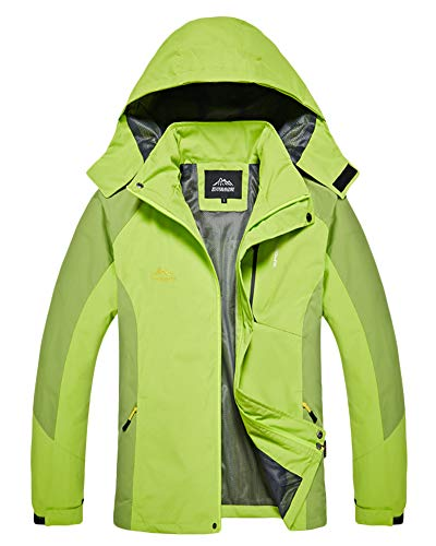 AnyuA Plus Size Unisex Softshell Womens Jacket Mens Outdoor Coat with Detachable Hood Men Light Green