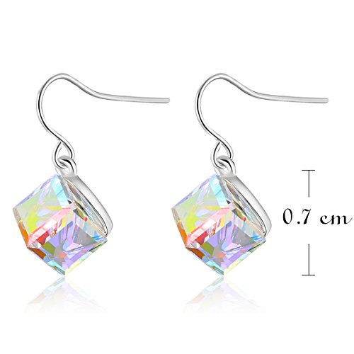 Kesaplan White 7mm-Square Crystal Jewlry Set With Allergen Free, Crystals From Swarovski by KesaPlan (Image #3)