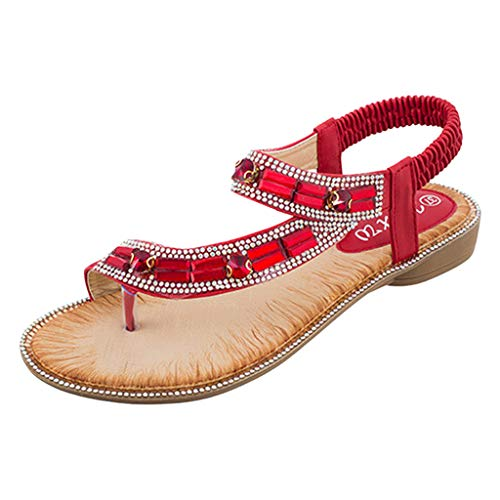 Women's Ladies Bohemian Toepost Crystal Elastic Band Beach Sandals Roman Shoes Gladiator Sandals Red ()