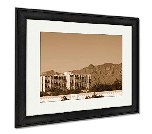 Ashley Framed Prints Residential High Rise Tucson Downtown Az, Wall Art Home Decoration, Sepia, 26x30 (frame size), Black Frame, - Glasses Tucson Az