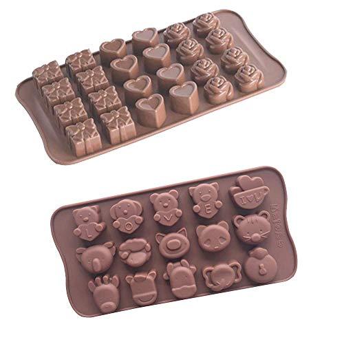 2 moldes de silicona para chocolate, moldes para dulces de gelatina, forma de corazón de flores, 39 cavidades, color café