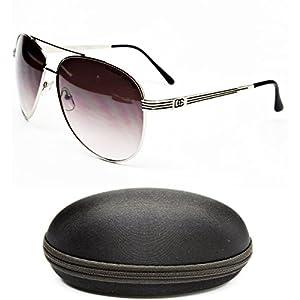D1044-CC Designer Eyewear Aviator Sunglasses (5021 Silver/Black, smoked)