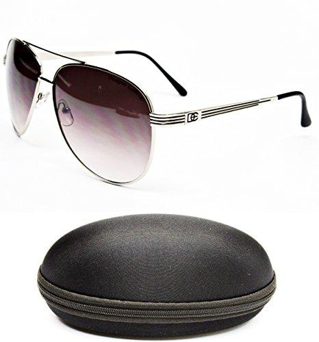 D1044-CC Designer Eyewear Aviator Sunglasses (5021 Silver/Black, - Sunglasses Police Black