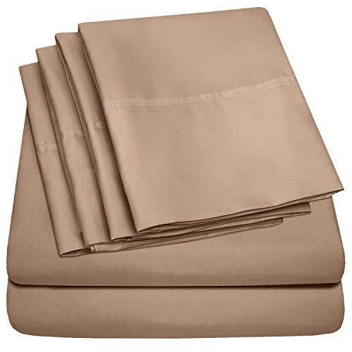 Queen Sheets Taupe - 6 Piece 1500 Thread Count Fine Brushed Microfiber Deep Pocket Queen Sheet Set Bedding - 2 Extra Pillow Cases, Great Value, Queen, Taupe