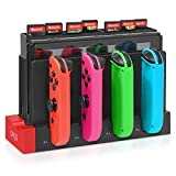 Compatible for Nintendo Switch JoyCon Charging Dock and Game Card Storage Holder with 28 Game Card Slots, Support 1-4pcs Joy Con, Charger with Individual LED Indicator for Switch Joy-Con