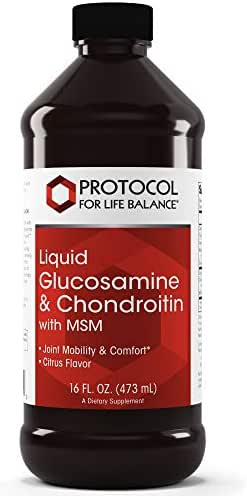 Protocol For Life Balance - Liquid Glucosamine & Chondroitin with MSM - Supports Joint Mobility & Comfort in Easy to Swallow Liquid Format - Citrus Flavor - 16 fl. oz. (473 mL)