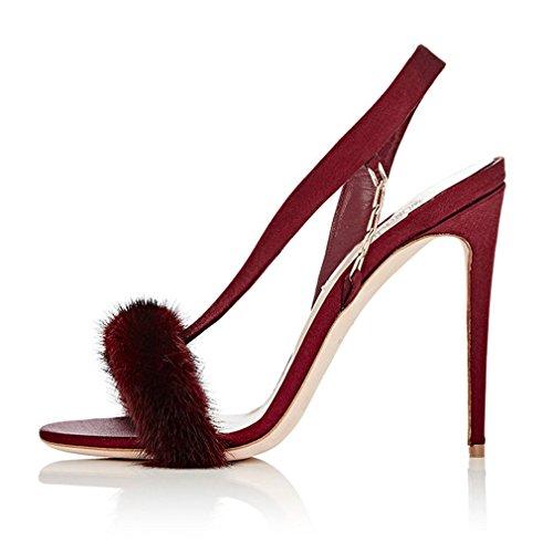 De Eu40 Lucky La Zapatos Sexy Satén Oficina eu46 red Aguja Felpa Alto Tamaño Gran eu41 Clover Abiertos Corte a Sandalias Tacón StwIrvTxtq