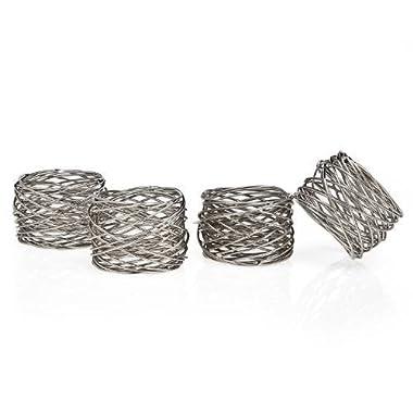 Godinger 94251 Round Mesh Napkin Ring - Set of 4,