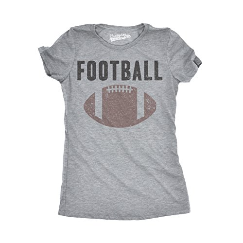 Crazy Dog T-Shirts Womens Vintage Football Text Sports Distressed Football Laces Sporty T Shirt (Grey) (Football Vintage T-shirt)
