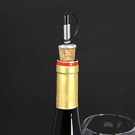 COM-FOUR® vertedor de botellas 8x de acero inoxidable - vertedor con tapón protector y corcho - ración para aguardiente, ron, whisky, bebidas o vinagre y aceite - vertedor dosificador (08 piezas)