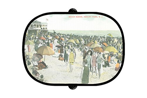 Beach Scene  Asbury Park  Nj 2Pcs Foldable Auto Window Sunshade Mesh