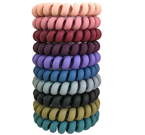 10 Pcs Spiral Hair Ties, Colorful Coil Hair Ties, Elastic Traceless Hair Ties, Matte Phone Cord Hair Ties, Waterproof Hair Coils for Women and Girls, Multicolor