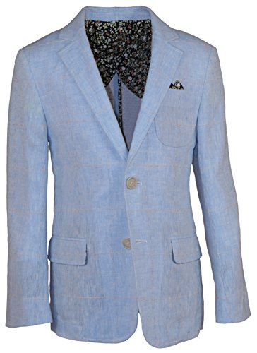 Brooklyn Brothers Boys Linen Blazer With Beige Checkers