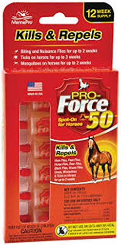 Manna Pro Pro-Force 50 Spot-On Fly Control for Horses, 6 Count