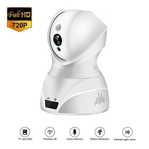 Security Dome Camera 720p HD Wireless IP Surveillance System Pan,Tilt,Zoom Motion Detection Infrared Night Vision - Domestic Cloud Service - APP Remote Control Available for Mobile Devices - Model (Infrared Camera System)