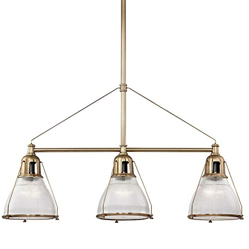 Haverhill Pendant Lighting - Hudson Valley Lighting Hudson Valley 7313-AGB Restoration Three Light Island Pendant from Haverhill Collection in Brass-Antiquefinish, 48.00 inches 4, Aged Finish