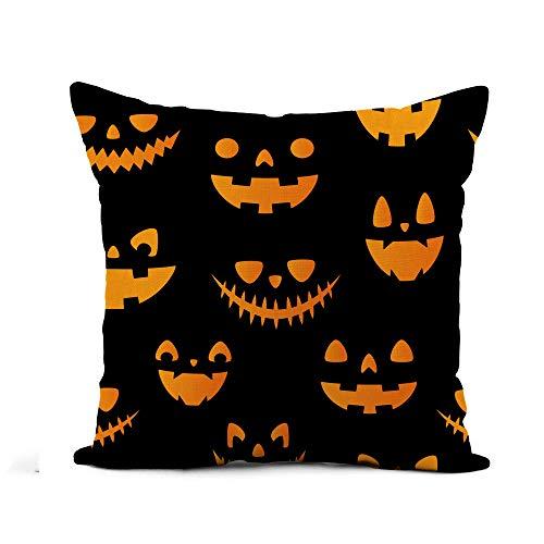 Awowee Flax Throw Pillow Cover Halloween Autumn Fall Cute Pumpkins All are Hidden Under 20x20 Inches Pillowcase Home Decor Square Cotton Linen Pillow Case Cushion Cover]()