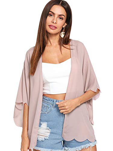 (WDIRARA Women's 3/4 Sleeve Scallop Trim Longline Kimono Cardigan Plain Casual Cover up Pink M)