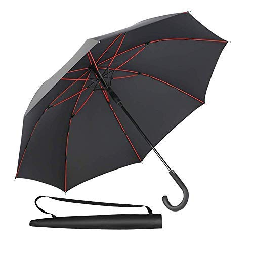 Newdora Stick Umbrella, Auto Open Windproof Umbrella with 51 Inch Large Canopy Waterproof and J Handle for Men Women