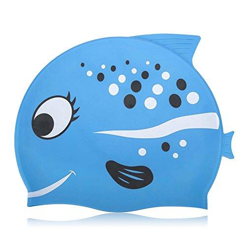 Kids Swimming Cap NGWALL Sartoon Fish Pattern Design (Silicone) Boy Swimming Cap Girl Swimming Cap Swim Cap for Children - Neoprene Hats For Swimming