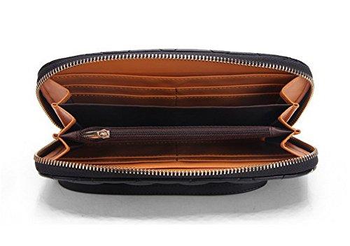 H&W Damen PU Leder Brieftasche Reißverschluss Handgelenk Geldbörse Blau Braun